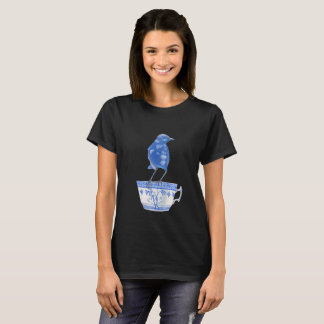 Camiseta t-shirt azul do amante do pássaro da carriça e do