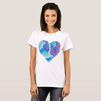 Camiseta T-shirt azul do coração da lavanda