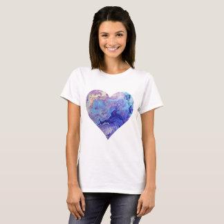 Camiseta T-shirt azul do coração do céu