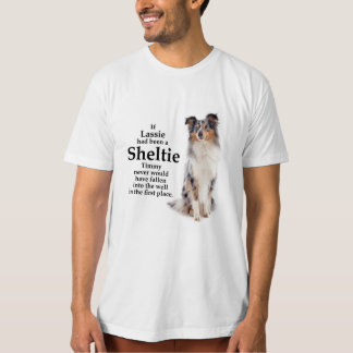 Camiseta T-shirt azul do Merle Sheltie de Timmy