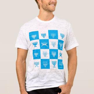 Camiseta t-shirt azul do teste padrão do menorah