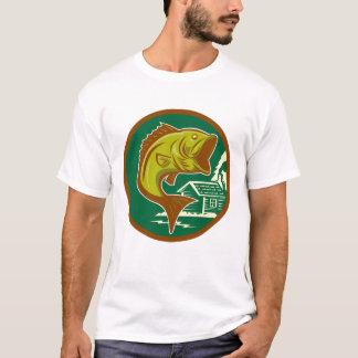 Camiseta T-shirt baixo de salto retro dos homens