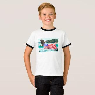 Camiseta T-shirt básico da águia da bandeira dos EUA da