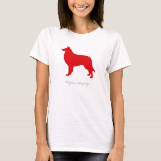 Camiseta T-shirt belga do Sheepdog (silhueta vermelha)