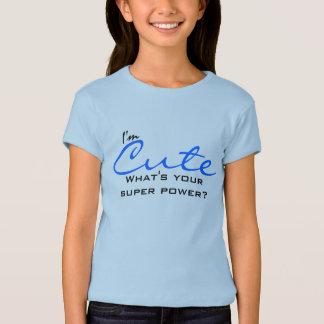 Camiseta T-shirt bonito azul do poder super das meninas