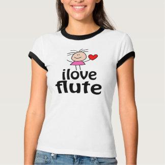 Camiseta T-shirt bonito da flauta do amor de I