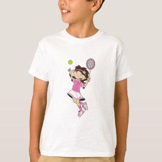 Camiseta T-shirt bonito da menina do tênis