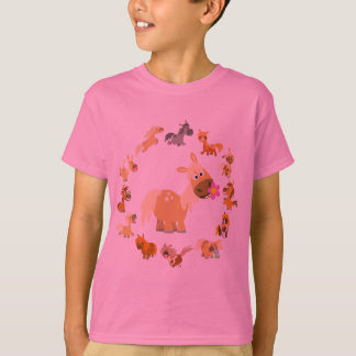 Camiseta T-shirt bonito das crianças da mandala dos pôneis