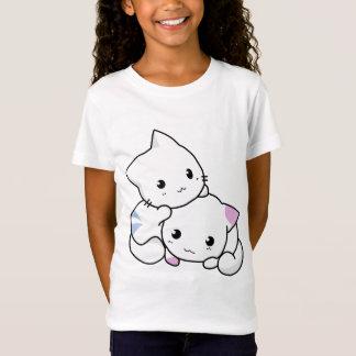 Camiseta T-shirt bonito de dois gatinhos dos desenhos