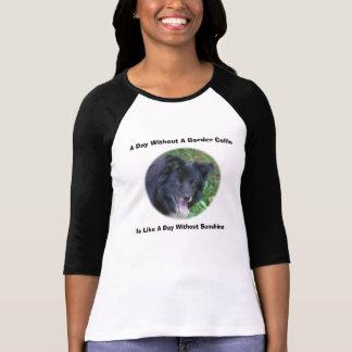 Camiseta T-shirt bonito de sorriso do cão de border collie