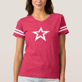 Camiseta T-shirt bonito do futebol das mulheres cor-de-rosa