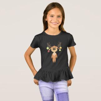 Camiseta T-shirt bonito do plissado das meninas da rena do