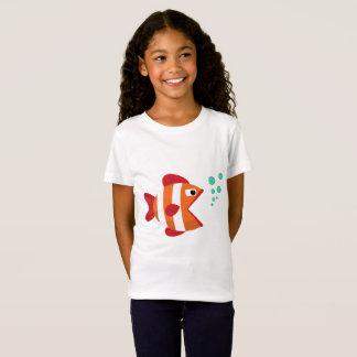 Camiseta T-shirt bonito engraçado dos peixes para a menina