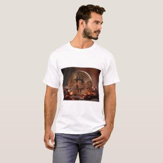 Camiseta T-shirt branco de Bitcoin para homens