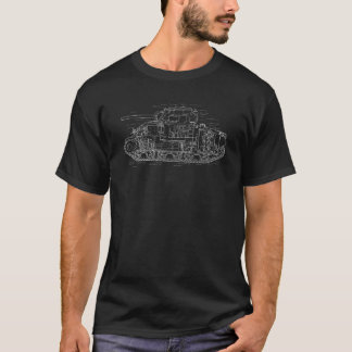 Camiseta T-shirt branco do diagrama do tanque de WWII