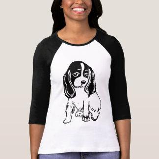 Camiseta T-shirt branco preto do Raglan das senhoras de