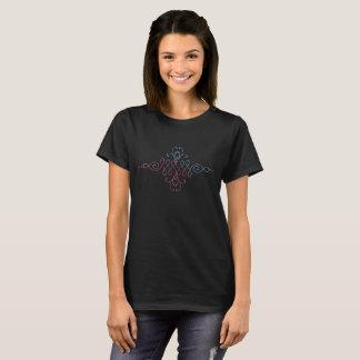 Camiseta T-shirt budista do preto do símbolo de Unalome