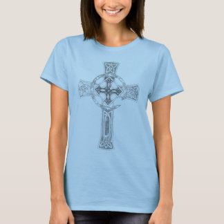 """Camiseta T-shirt celta da boneca da """"cruz"""" da procura"""