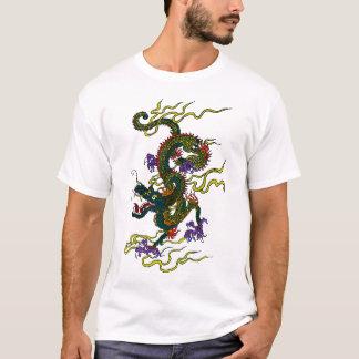 Camiseta T-shirt chinês do ponto do contraste do dragão
