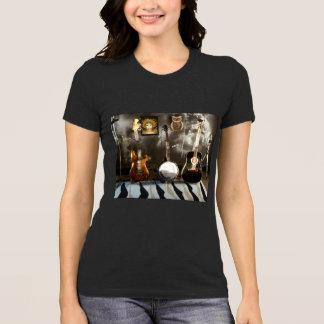 Camiseta T-shirt cinzento da urze com guitarra, banjo e
