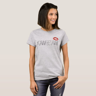 Camiseta t-shirt cinzento do #cawfeetawk (com lábios)