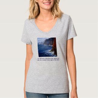 Camiseta T-shirt cinzento do oceano das mulheres