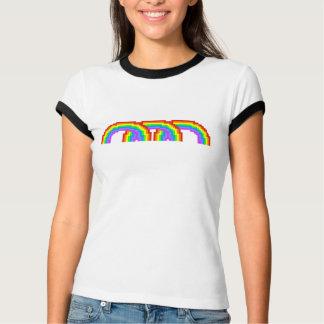 Camiseta T-shirt colorido do arco-íris da arte do pixel