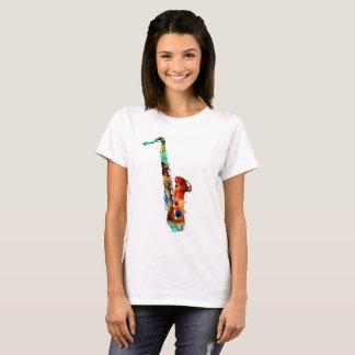 Camiseta t-shirt coloridos do saxofone