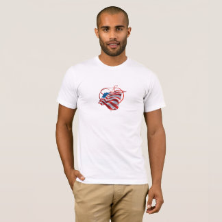 Camiseta T-shirt com a bandeira americana e coração bonitos