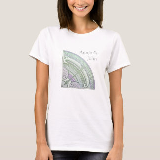 Camiseta T-shirt com design do nouveau da arte no lilac &