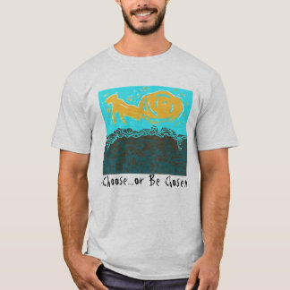 Camiseta T-shirt com design e pergunta abstratos