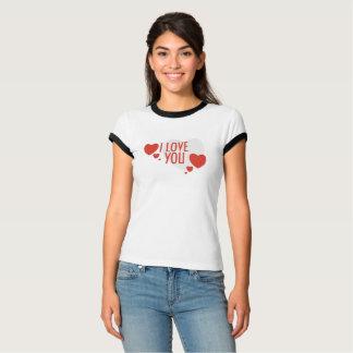 """Camiseta T-shirt com formas vermelhas do coração e """"eu te"""