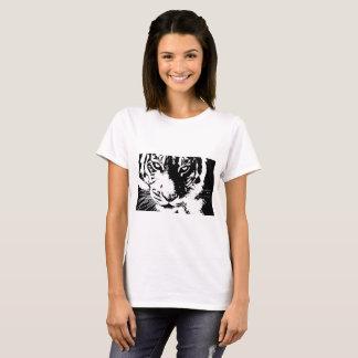 Camiseta T-shirt com o tigre preto e branco do impressão