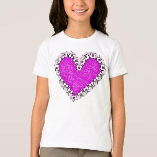 Camiseta T-shirt cor-de-rosa das meninas do entalhe do