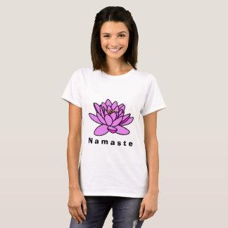Camiseta T-shirt cor-de-rosa de Namaste da flor de Lotus