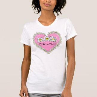 Camiseta T-shirt cor-de-rosa do coração de Edelweiss