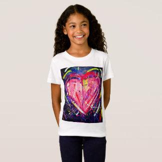 Camiseta T-shirt cor-de-rosa do coração dos miúdos