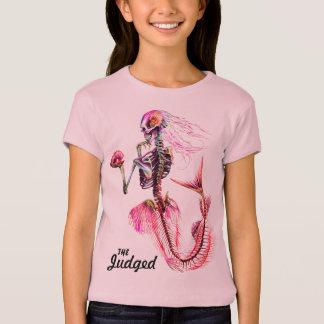 Camiseta T-shirt cor-de-rosa do esqueleto da sereia das