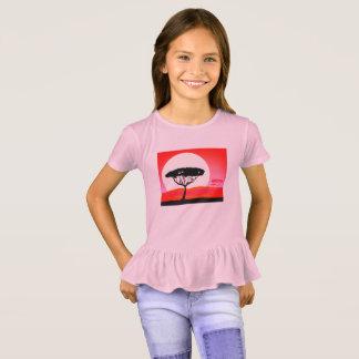 Camiseta T-shirt cor-de-rosa dos MIÚDOS com árvore de