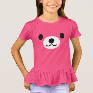 Camiseta T-shirt cor-de-rosa dos plissados do urso de