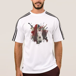 Camiseta T-shirt corajoso branco de bull terrier Union Jack