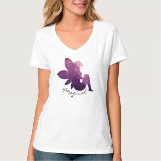 Camiseta T-shirt cósmico feericamente mágico do V-Pescoço