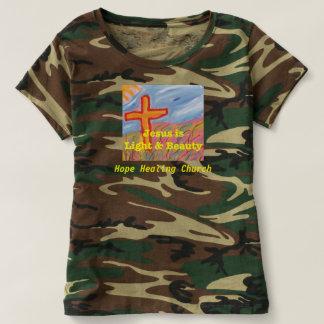 Camiseta T-shirt cristão da camuflagem da igreja cura da
