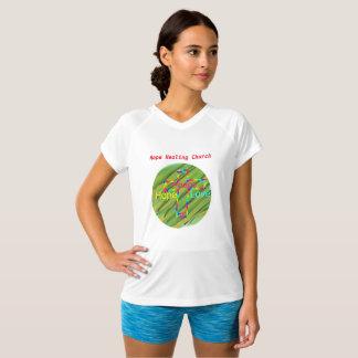 Camiseta T-shirt cristão do V-Pescoço da paz da igreja cura