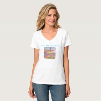 Camiseta T-shirt cristão do V-Pescoço de Jesus da igreja