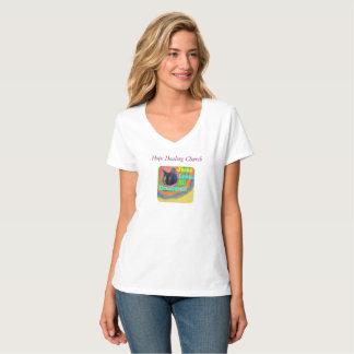 Camiseta T-shirt cristão do V-Pescoço do gato da igreja