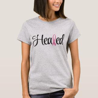 Camiseta T-shirt curado da fita do rosa do cancro da mama