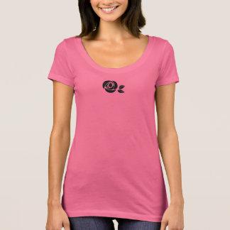 Camiseta T-shirt curto cor-de-rosa do sleve