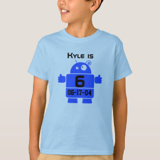 Camiseta T-shirt customizável do aniversário do robô
