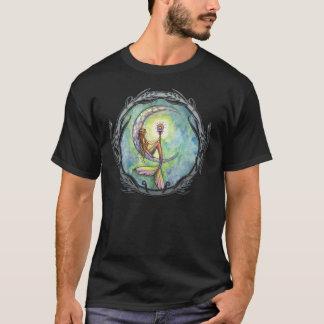 Camiseta T-shirt da arte da fantasia da lua da sereia